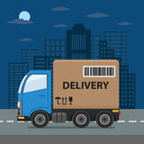 Delivery truck on city background. Stock Photography