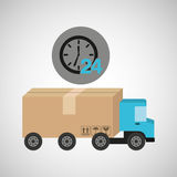 Delivery truck concept service 24 hours. Vector illustration eps 10 Royalty Free Stock Image