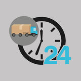 Delivery truck concept service 24 hours. Vector illustration eps 10 Stock Photography