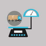 Delivery truck concept weight scale icon Royalty Free Stock Photo