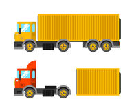 Delivery truck with container. Ton truck vector illustration. Tr. Uck shipping Stock Image