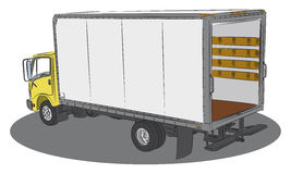 Delivery truck drawing. Colored open delivery truck drawing Royalty Free Stock Images