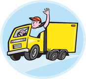 Delivery Truck Driver Waving Cartoon Royalty Free Stock Image