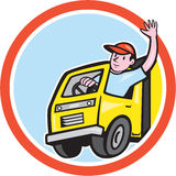 Delivery Truck Driver Waving Circle Cartoon stock illustration