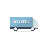 Delivery truck. Fast blue delivery truck icon isolated on white background in flat style. Vector illustration Stock Photography