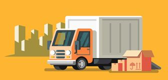 Delivery truck and fast delivery service. Vector flat Royalty Free Stock Image