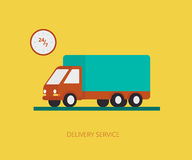 Delivery truck. Flat concept illustration of delivery truck on yellow background with wallclock Stock Photo