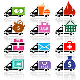 Delivery truck flat icons set Royalty Free Stock Image