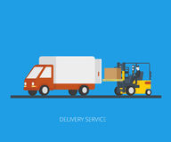 Delivery truck with forklift Royalty Free Stock Photography