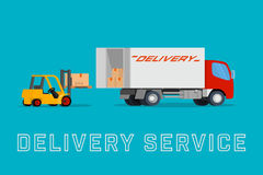 Delivery truck with forklift loading box into the car Stock Images