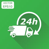 Delivery truck 24h icon. Business concept 24 hours fast delivery Stock Photos