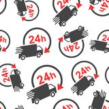 Delivery truck 24h seamless pattern background. Business flat ve. Ctor illustration. 24 hours fast delivery service shipping sign symbol pattern Stock Photos