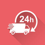 Delivery truck 24h vector illustration. 24 hours fast delivery service shipping icon. Royalty Free Stock Photos