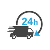 Delivery truck 24h vector illustration. 24 hours fast delivery service shipping icon. Simple flat pictogram for business, marketing or mobile app internet Royalty Free Stock Images