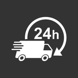 Delivery truck 24h vector illustration. 24 hours fast delivery service shipping icon. Simple flat pictogram for business, marketing or mobile app internet Royalty Free Stock Photo