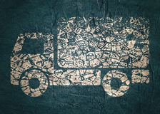 Delivery truck icon. Grunge style illustration. Industrial lorry or tip truck sign. Concrete textured Royalty Free Stock Photo