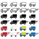 Delivery truck icon in many variations. Vector eps 10. Stock Photo