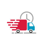Delivery truck icon vector, cargo van moving, fast shipping Stock Photos