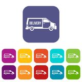 Delivery truck icons set Stock Photos