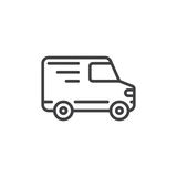 Delivery truck line icon, outline vector sign royalty free illustration
