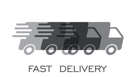 Delivery truck logo vector illustration. Fast delivery service shipping icon. Simple flat pictogram for business, marketing or mobile app internet concept on Royalty Free Stock Photos