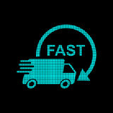 Delivery truck logotype in pixel style. Fast delivery service sh. Ipping vector illustration logo icon. Simple flat pictogram for business, marketing or mobile Royalty Free Stock Images