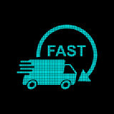 Delivery truck logotype in pixel style Stock Images