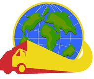 Delivery Truck Lorry Globe Retro. Illustration of a delivery truck lorry going around the world with globe in the background done in retro style Royalty Free Stock Image