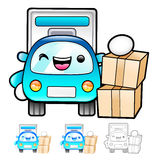 Delivery Truck mascot the hand is holding a box. Product and Dis Royalty Free Stock Photos