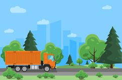 Delivery truck moving on highway road through forest. Trucking company. City on background. Vector Illustration Stock Photo