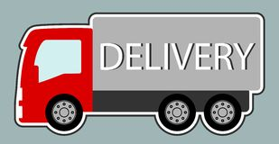 Delivery truck with red cabin Stock Photo