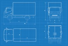 Delivery truck schematic or VAN car blueprint. Vector illustration. Truck car in outline. Business vehicle template. Vector. View front, rear, side, top royalty free illustration