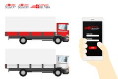 Delivery Truck Service, Order Worldwide Shipping, Fast and Free Royalty Free Stock Photos