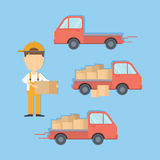 Delivery truck set. Delivery truck set with courier and boxes. Cargo service Stock Photography