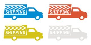Delivery truck with shipping sign Royalty Free Stock Photo