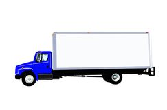 Delivery Truck vector. This is a vector of a typical six wheel city delivery cargo vehicle with a blank white van box. isolated on white Royalty Free Stock Photo