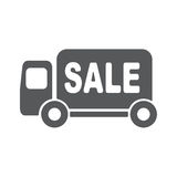 Delivery truck vector icon illustration. Sale Van vector pictograph. Illustration style is a flat iconic style Stock Photos