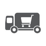 Delivery truck vector icon illustration. Shopping concept Stock Photo