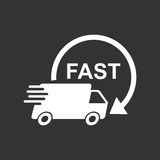 Delivery truck vector illustration. Fast delivery service shipping icon. Royalty Free Stock Images