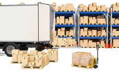 Free Delivery Truck With Parcels And Pallet Truck With Cardboard Boxes, Warehouse. 3D Rendering Stock Photography - 133397652