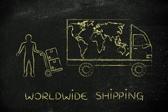 Delivery truck with world map & man with parcels, worldwide ship Stock Photography