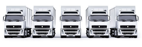 Delivery Trucks. A line of white trucks, isolated on white background Royalty Free Stock Photo