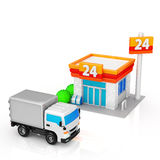 Delivery trucks and convenience stores. Truck to be delivered to the convenience store stock illustration