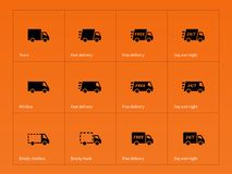 Delivery Trucks icons on orange background. Royalty Free Stock Photography