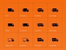 Delivery Trucks icons on orange background. Vector illustration stock illustration