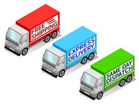Delivery Trucks. Isometric delivery truck vectors, free shipping, express delivery, and same day dispatch stock illustration
