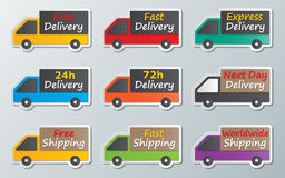 Delivery trucks sign. Set of colorful paper delivery trucks signs royalty free illustration