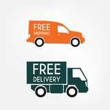 Delivery trucks. Delivery truck with free shipping and free delivery text,flat style Stock Photo