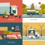 Delivery Trucks 2x2 Design Concept Stock Photos