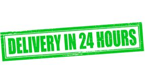Delivery in twenty four hours. Stamp with text delivery in twenty four hours inside,  illustration Royalty Free Stock Photography